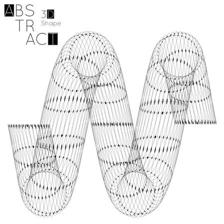 Abstract 3D wireframe geometric shape isolated on white background. Futuristic design element.