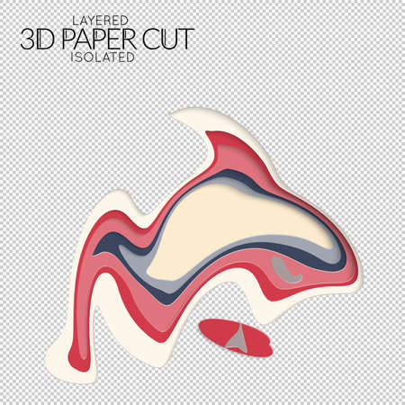Abstract 3D paper cut art shape. Vector  paper cut layers create topography map concept or smooth origami paper carving craft. Wavy layered material design paper art isolated design element. Illustration
