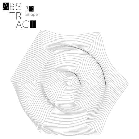Abstract 3D wireframe geometric shape isolated on white background. 3D ripple effect. Circle wave on grid. Futuristic design element.