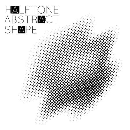 Abstract halftone geometric shape isolated on white background. Futuristic design element.