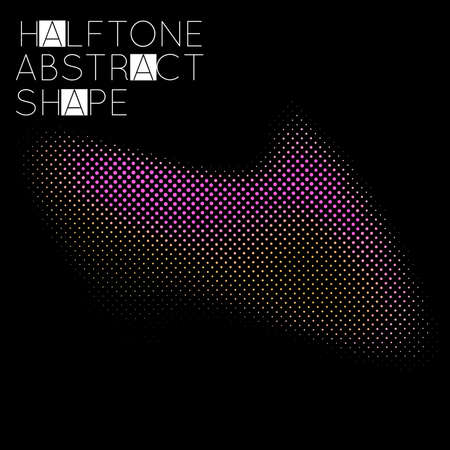 Abstract halftone geometric shape isolated on black background. Futuristic design element. Gradient colored fluid shape.