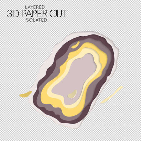 Abstract 3D paper cut art shape. Vector  paper cut layers create topography map concept or smooth origami paper carving craft. Wavy layered material design paper art isolated design element. Иллюстрация