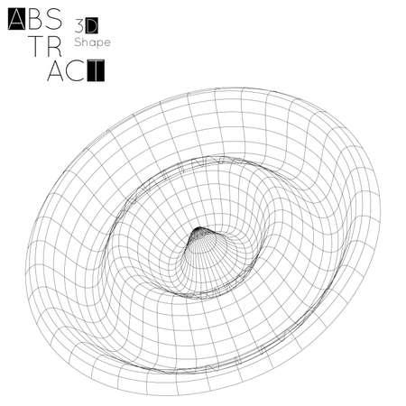 白い背景に分離された抽象的な3Dワイヤフレーム幾何学的形状。3D リップル効果。グリッド上の円波。未来的なデザイン要素。 写真素材 - 96518825