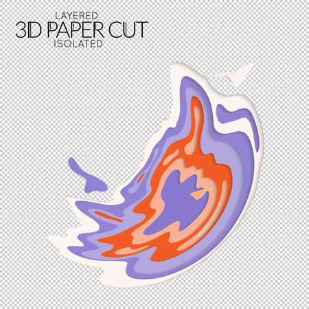 Abstract 3D paper cut art shape. Vector  paper cut layers create topography map concept or smooth origami paper carving craft. Wavy layered material design paper art isolated design element. 矢量图像