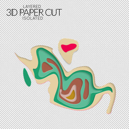 Abstract 3D paper cut art shape. Vector paper cut layers create topography map concept or smooth origami paper carving craft. Wavy layered material design paper art, isolated design element. Illustration