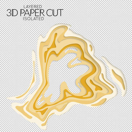 Abstract 3D paper cut art shape. Vector  paper cut layers create topography map concept or smooth origami paper carving craft. Wavy layered material design paper art isolated design element. Illusztráció