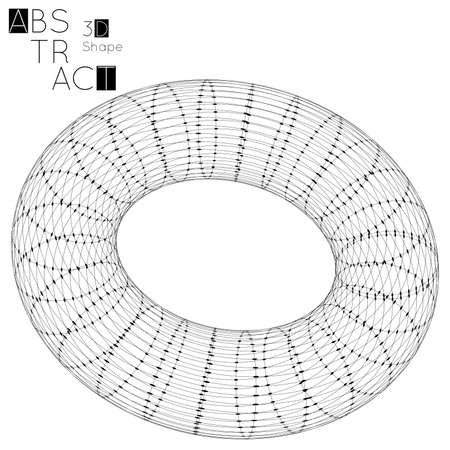 Abstract 3D wireframe geometric shape isolated on white background. 3D torus. Futuristic design element.