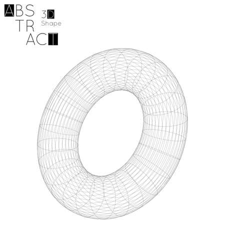 Abstract 3D wireframe geometric shape, isolated on white background. 3D torus. Futuristic design element.