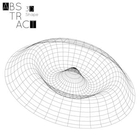Abstract 3D wire-frame geometric shape, isolated on white background. 3D ripple effect. Circle wave on grid. Futuristic design element.  イラスト・ベクター素材