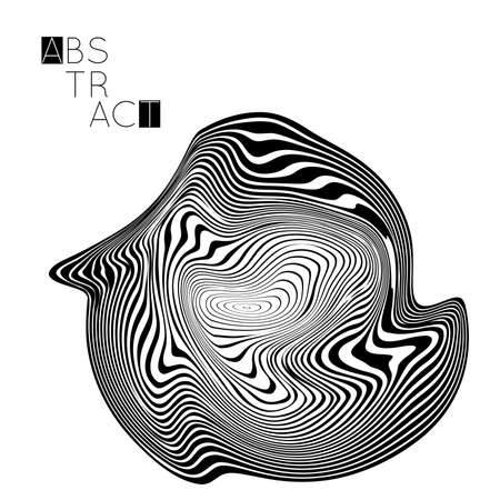 Abstract striped wavy shape. Optical art background. 3D marble texture. Black and white striped pattern. Futuristic vector illustration isolated.