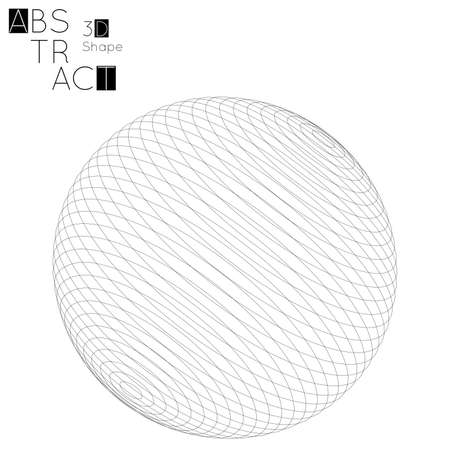 Abstract 3D wireframe geometric shape isolated on white background. 3D sphere. Futuristic design element.