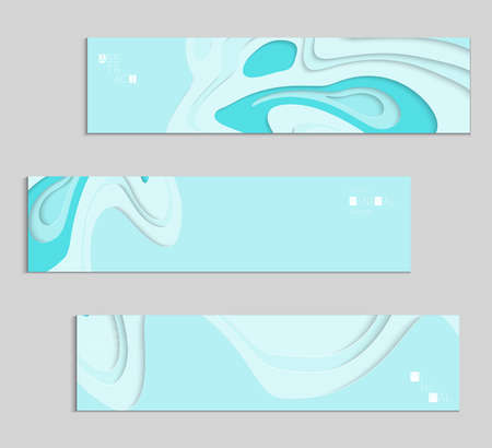 Abstract banner template with 3D paper cut art. Vector  paper cut layers create topography map concept or smooth origami paper carving craft. Wavy layered material design paper art poster. Stock fotó - 96673343