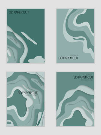 Abstract banner template with 3D paper cut art. Vector  paper cut layers create topography map concept or smooth origami paper carving craft. Wavy layered material design paper art poster. Illusztráció