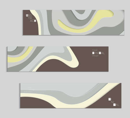 Abstract banner template with 3D paper cut art. Vector  paper cut layers create topography map concept or smooth origami paper carving craft. Wavy layered material design paper art poster. Stock fotó - 96692176