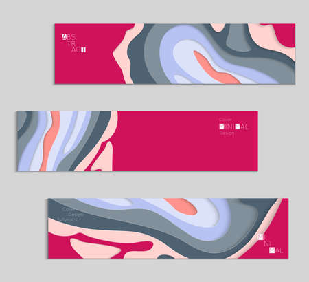 Abstract banner template with 3D paper cut art. Vector  paper cut layers create topography map concept or smooth origami paper carving craft. Wavy layered material design paper art poster. Ilustração