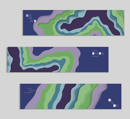 Abstract banner template with 3D paper cut art. Vector  paper cut layers create topography map concept or smooth origami paper carving craft. Wavy layered material design paper art poster. Illustration