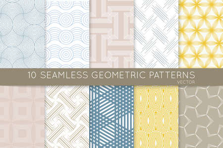 Collection of seamless patterns. Simple geometric texture. Abstract design elements in set.