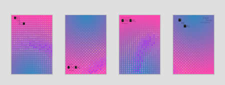 Minimal cover banner template. Geometric halftone gradient texture. Futuristic abstract modern pattern with halftone color effect creating digital art. Illustration