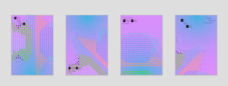 Minimal cover banner template. Geometric halftone gradient texture. Futuristic abstract modern pattern with halftone color effect creating digital art. Ilustrace