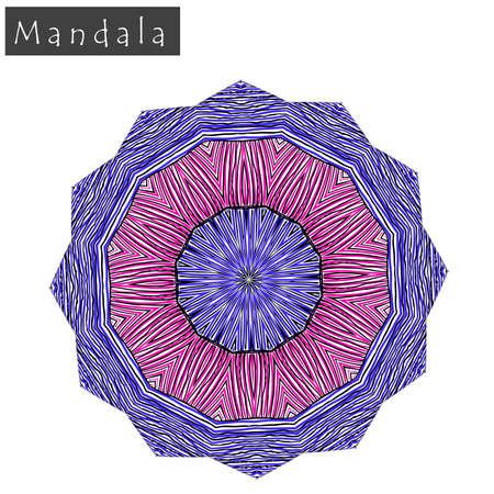 Signe de mandala fleur géométrique Forme géométrique abstraite à peu près dessinés à la main. Symbole géométrique symétrique rayé. Icône de mandala de vecteur isolé sur blanc. Élément de conception de motif ethnique tribal. Vecteurs