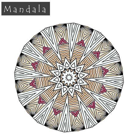 Geometrical flower mandala sign.Abstract geometric shape roughly hand drawn. Striped symmetrical geometrical symbol. Vector mandala icon isolated on white. Tribal ethnic pattern design element.
