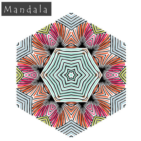 Geometrical flower mandala sign. Abstract geometric shape roughly hand drawn. Striped symmetrical geometrical symbol. Vector mandala icon isolated on white. Tribal ethnic pattern design element.