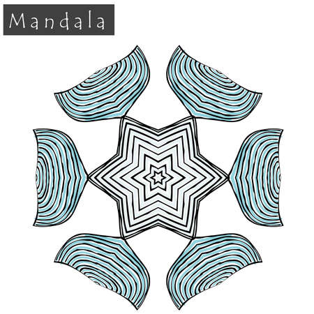 Geometrical flower mandala sign. Abstract geometric shape roughly hand drawn. Striped symmetrical geometrical symbol. Vector mandala icon isolated on white. Tribal ethnic pattern design element.