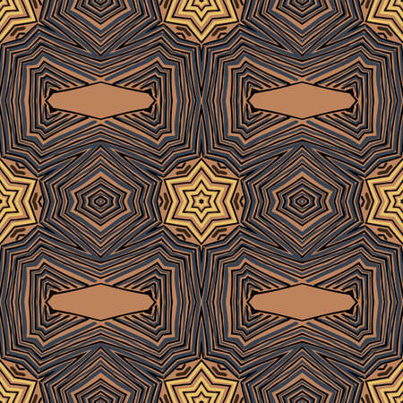 Seamless striped vector pattern. Colored decorative repainting background with tribal and ethnic motifs. Abstract geometric roughly hatched detailed shapes with black contour. Illusztráció