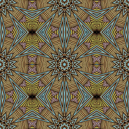 Seamless striped vector pattern. Colored decorative repainting background with tribal and ethnic motifs. Abstract geometric roughly hatched detailed shapes with black contour. Illustration