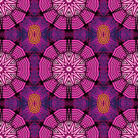 Seamless striped vector pattern. Colored decorative repainting background with tribal and ethnic motifs. Abstract geometric roughly hatched detailed shapes with black contour. Ilustrace