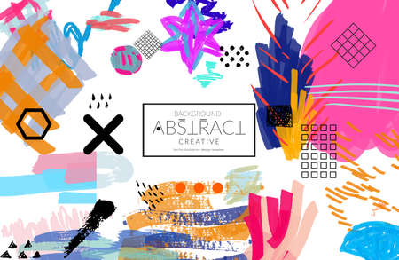Abstract universal art web header template. Collage made with scribbles, marker, canyon strokes, black geometric shapes, ink drawn splashes. Bright colored isolated on white background cover template. Illustration