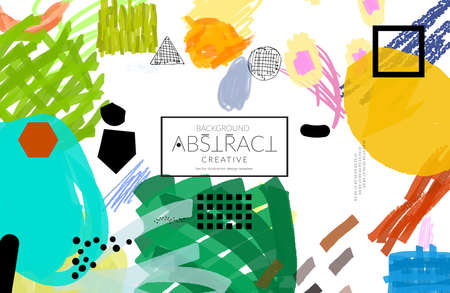 Abstract universal art web header template. Collage made with scribbles, marker, canyon strokes, black geometric shapes, ink drawn splashes. Bright colored isolated on white background cover template.  イラスト・ベクター素材