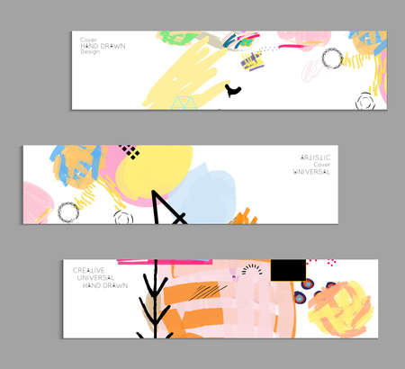 Abstract universal art web header template. Collage made with scribbles, marker, canyon strokes, black geometric shapes, ink drawn splashes. Bright colored isolated on white background cover template. Vectores