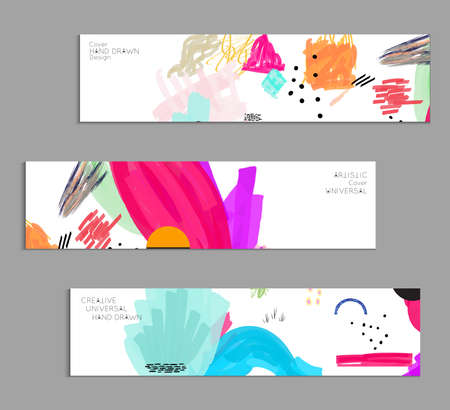 Abstract universal art web header template. Collage made with scribbles, marker, canyon strokes, black geometric shapes, ink drawn splashes. Bright colored isolated on white background cover template. 向量圖像