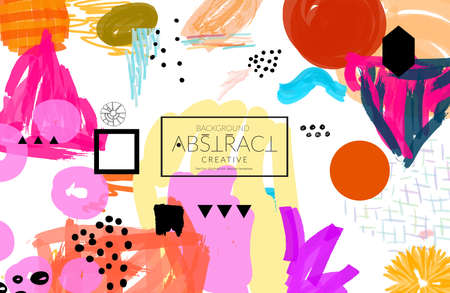 Abstract universal art web header template. Collage made with scribbles, marker, canyon strokes, black geometric shapes, ink drawn splashes. Bright colored isolated on white background cover template. Stock fotó - 97496256