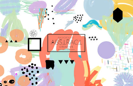 Abstract universal art web header template. Collage made with scribbles, marker, canyon strokes, black geometric shapes, ink drawn splashes. Bright colored isolated on white background cover template. Ilustracja