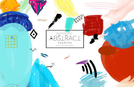 Abstract universal art web header template. Collage made with scribbles, marker, canyon strokes, black geometric shapes, ink drawn splashes. Bright colored isolated on white background cover template.