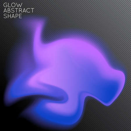 Abstract fluid shape isolated on transparent black background. Bright colorful gradient blend creates liquid motion with transparent glow. Energy power plasma with futuristic edge blur effect.