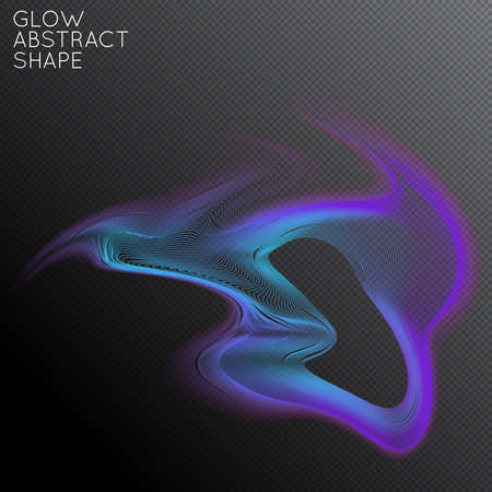 Abstract fluid shape isolated on transparent black background. Bright colorful gradient blend creates liquid motion with transparent glow. Energy power plasma with futuristic edge blur effect. Stock Illustratie