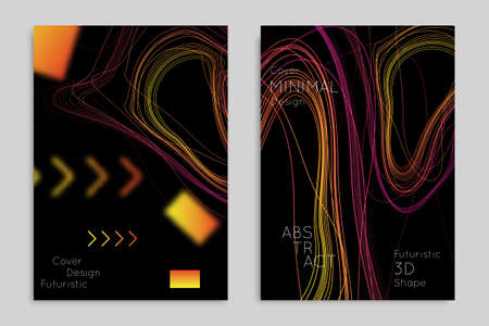 Abstract banner template with blurred geometric shapes. Poster with gradient neon colored lines like tangled threads. Bright colorful fluid shapes on black background.