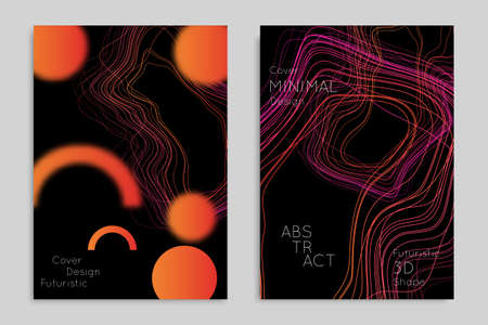 Abstract banner template with blurred geometric shapes. Poster with gradient neon colored  lines like tangled threads. Bright colorful fluid shapes on black background. Çizim