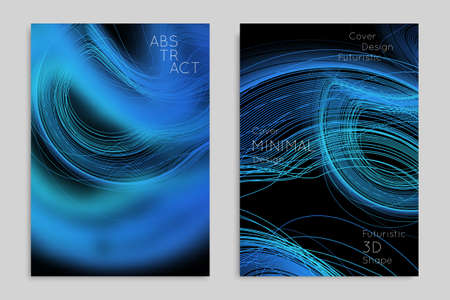 Abstract banner template with blurred geometric shapes. Poster with gradient neon colored  lines like tangled threads. Bright colorful fluid shapes on black background. Illusztráció