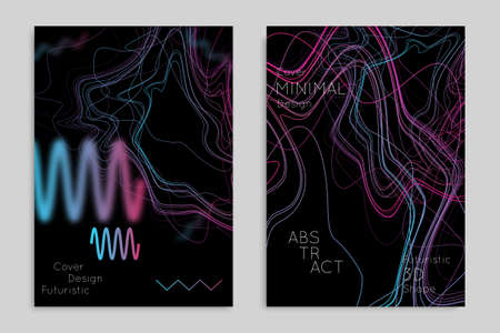 Abstract banner template with blurred geometric shapes. Poster with gradient neon colored  lines like tangled threads. Bright colorful fluid shapes on black background. 일러스트
