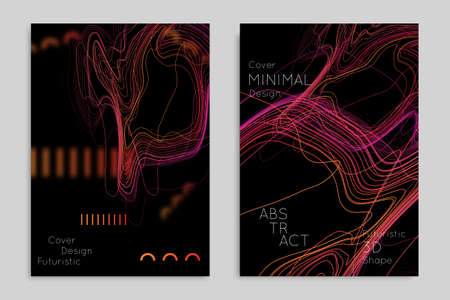 Abstract banner template with blurred geometric shapes. Poster with gradient neon colored  lines like tangled threads. Bright colorful fluid shapes on black background. Illustration