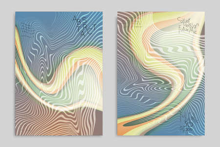 Abstract cover template with stripes on colorful blurred background. Poster with gradient colored  fluid shapes. Bright liquid striped futuristic banner with marble texture over glow color.