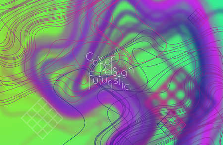 Abstract banner template with blurred curvy lines and geometric shapes. Poster with gradient neon colored  lines like tangled threads. Bright colorful shapes with marble texture.