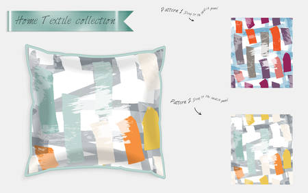 Interior design textile patterns. Realistic satin decorative pillow mock up with seamless pattern isolated on white. Two hand drawn seamless patterns with rough texture. Foto de archivo - 97897209