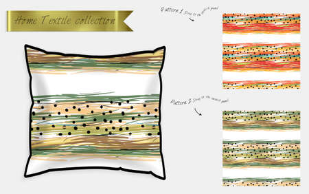 Interior design textile patterns. Realistic satin decorative pillow mock up with seamless pattern isolated on white. Two hand drawn seamless patterns with rough texture. Foto de archivo - 97897212