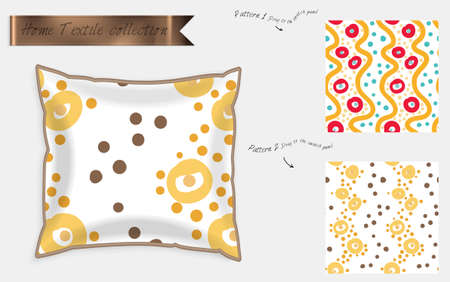 Interior design textile patterns. Realistic satin decorative pillow mock up with seamless pattern isolated on white. Two hand drawn seamless patterns with rough texture. Foto de archivo - 97897213