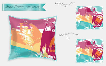 Interior design textile patterns. Realistic satin decorative pillow mock up with seamless pattern isolated on white. Two hand drawn seamless patterns with rough texture. Foto de archivo - 97897221